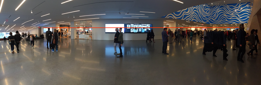 A red line drawn across a photograph of all digital signage in Schwab Hall
