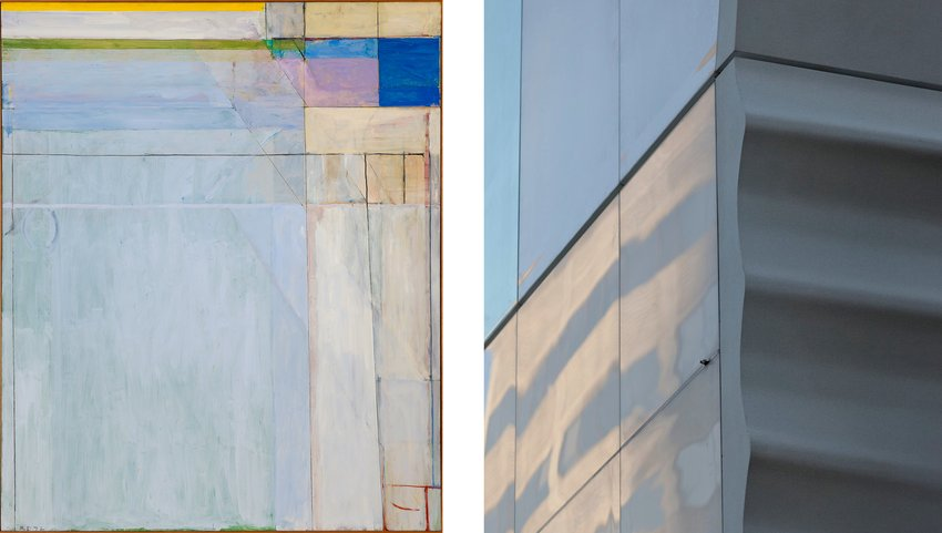 Richard Diebenkorn painting next to a corner shot of SFMOMA's new rippling white facade