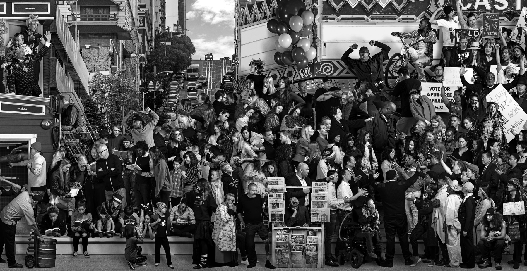 black and white mural filled with some people reading and some protesting