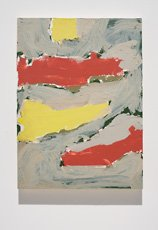 Aldrich, abstract painting with two red and two yellow shapes
