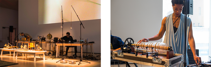 Side-by-side images of instrumental performances by O Grivo and Camille Norment