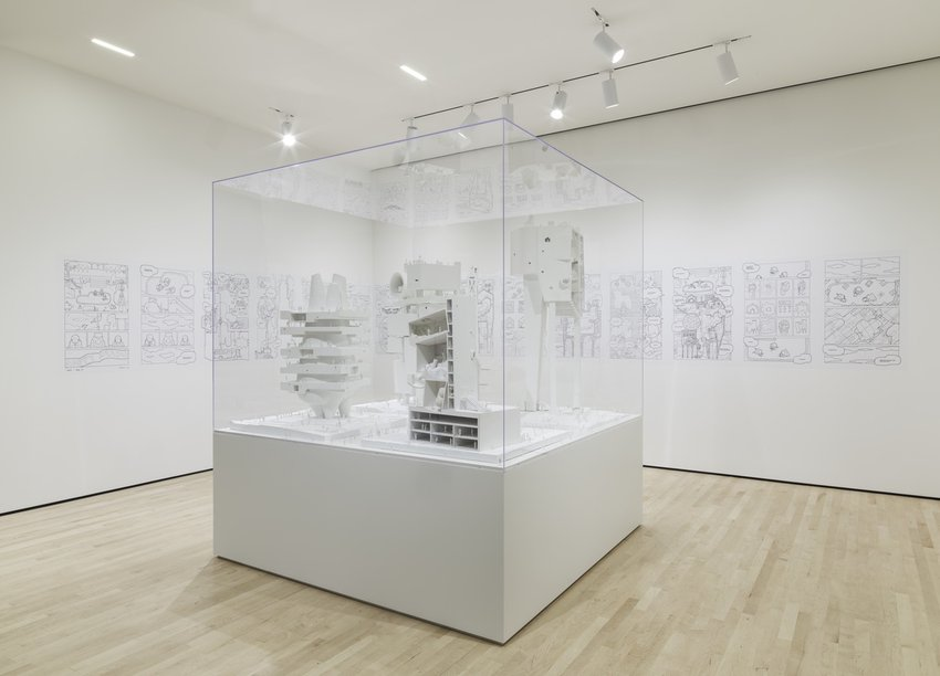 An architectural model installed in a white gallery, Jimenez Lai