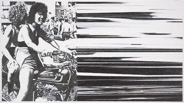 D-J Alvarez two panel drawing with two people on motorcycle and black and white lines