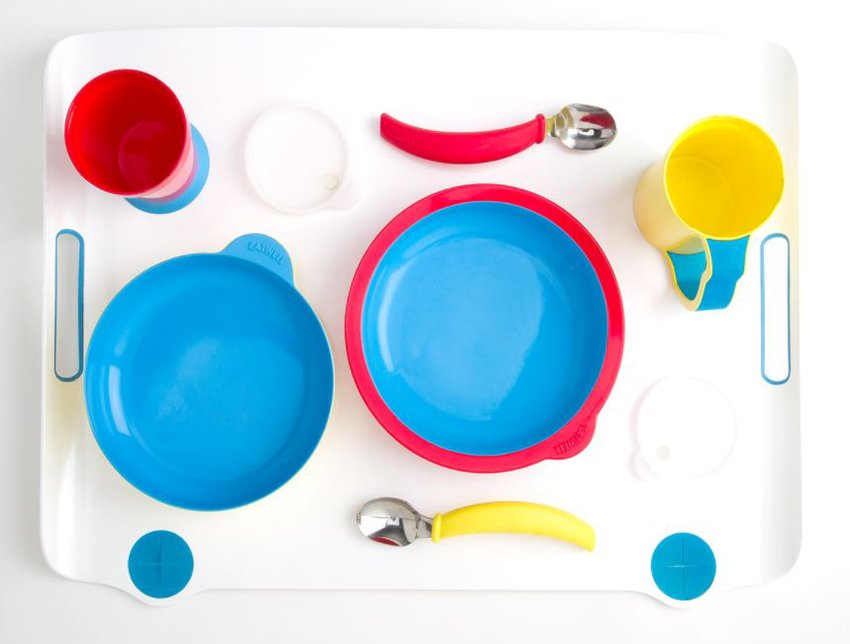 A color table top photograph of colorful a dining set, Sha Yao