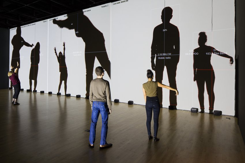 Artwork installation view, Rafael Lozano-Hemmer, Frequency and Volume