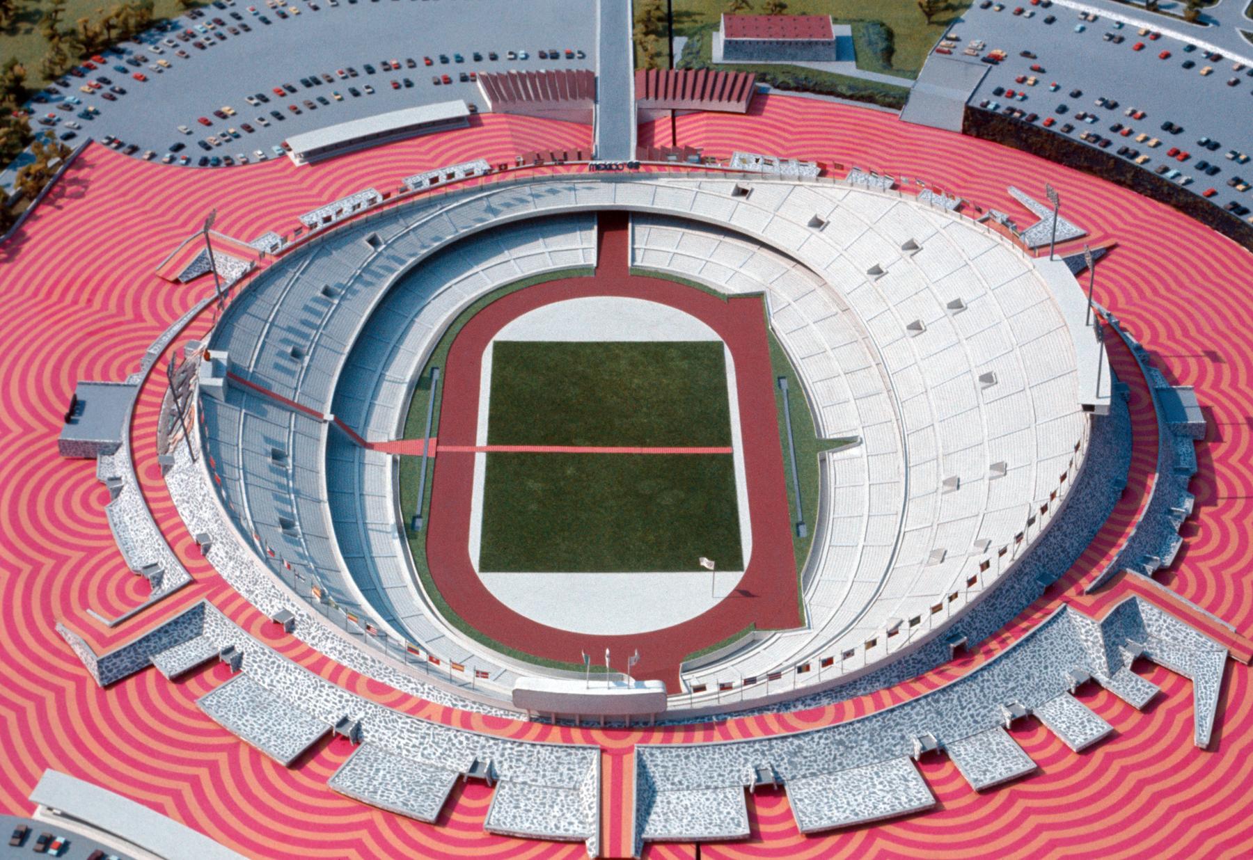 an empty stadium from bird's eye biew