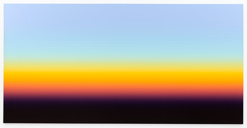 A painting of a sunset featuring smoggy color bands, Zammit
