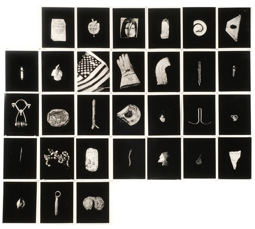 A grid of photographs of light objects against black backgrounds