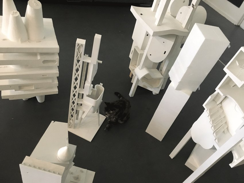 A cat sits in the midst of white architectural models