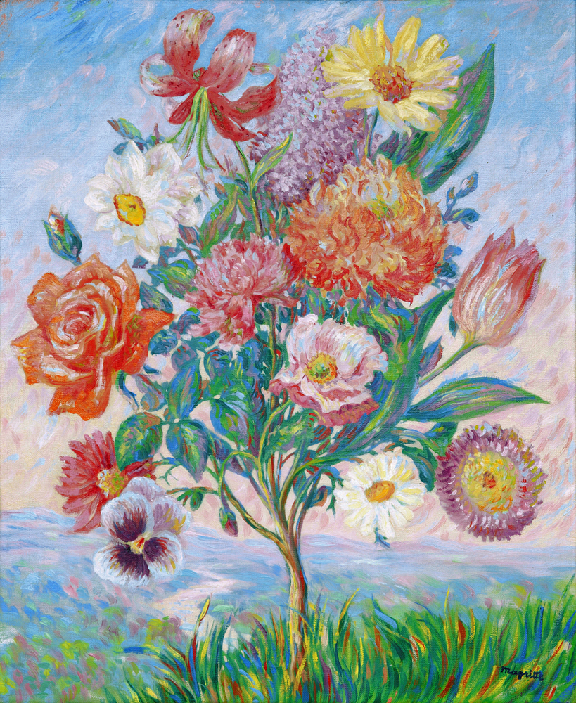 Curling plant sprouting many different types of brightly colored flowers against an impressionistic sky
