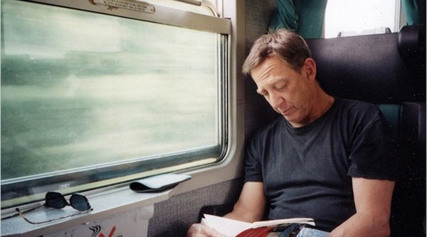 Artist Larry Sultan on a train
