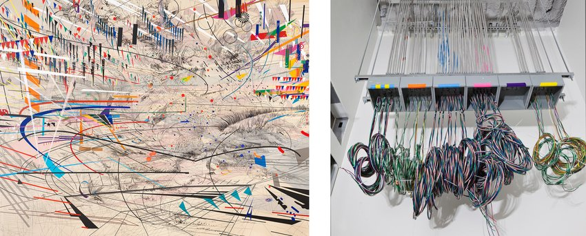Julie Mehretu's painting of graphic black lines and colorful geometric shapes next to a construction image of colorful cords