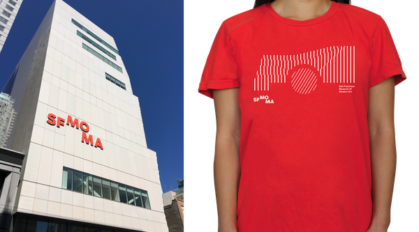 SFMOMA logo on building and red SFMOMA t-shirt