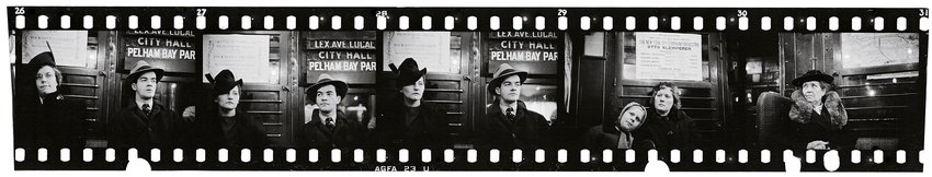 A black and white film strip illustrating subway passengers, Walker Evans