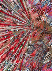 Schoultz, mixed media abstract colorful radial