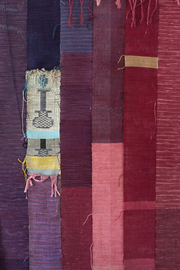 Josh Faught, strips of textiles sewn together