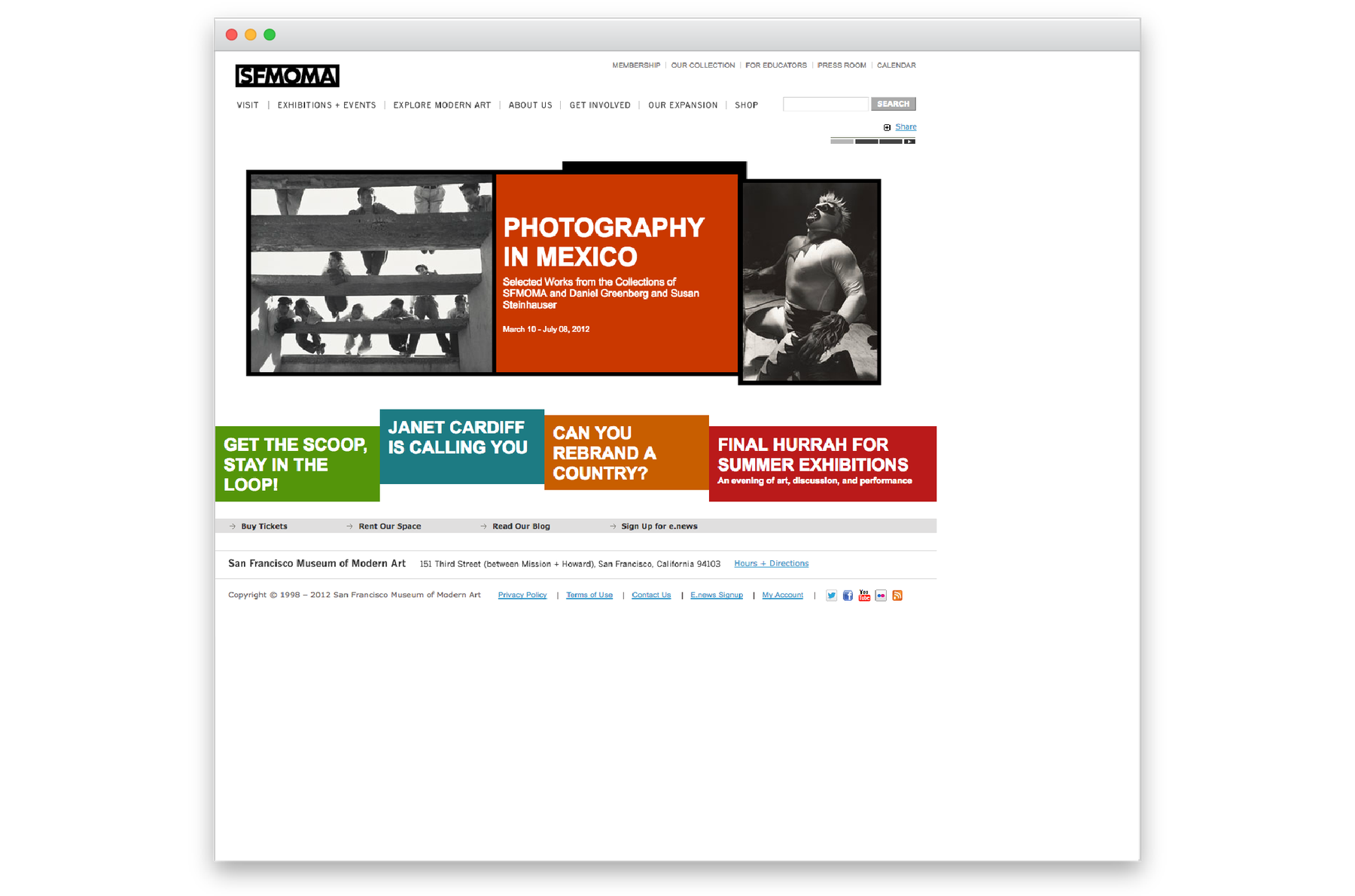 Screenshot of old sfmoma.org website