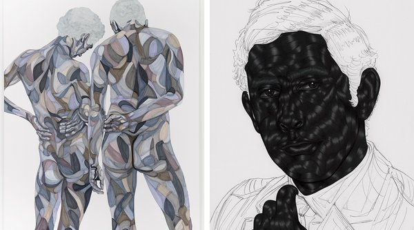 (L) Toyin Ojih Odutola, Quality Control, 2015; marker and pencil on paper, and (R) Toyin Ojih Odutola, The Treatment 14, 2015, pen ink, gel ink and pencil on paper