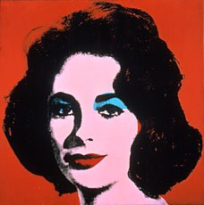 Warhol woman smiling with red lips