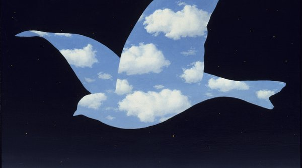 Painting of an outlined bird filled with blue skies and clouds, Magritte