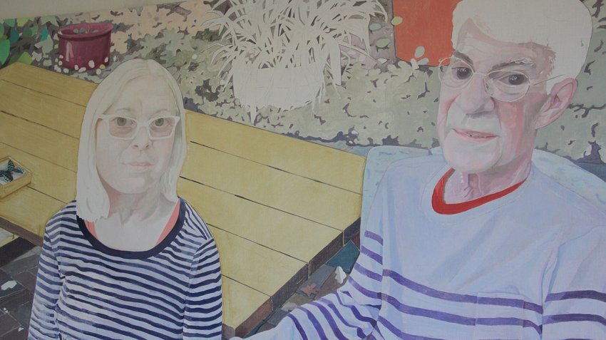 A double painted portrait of a Caucasian man and woman, both wearing glasses and striped shirt, Collinson