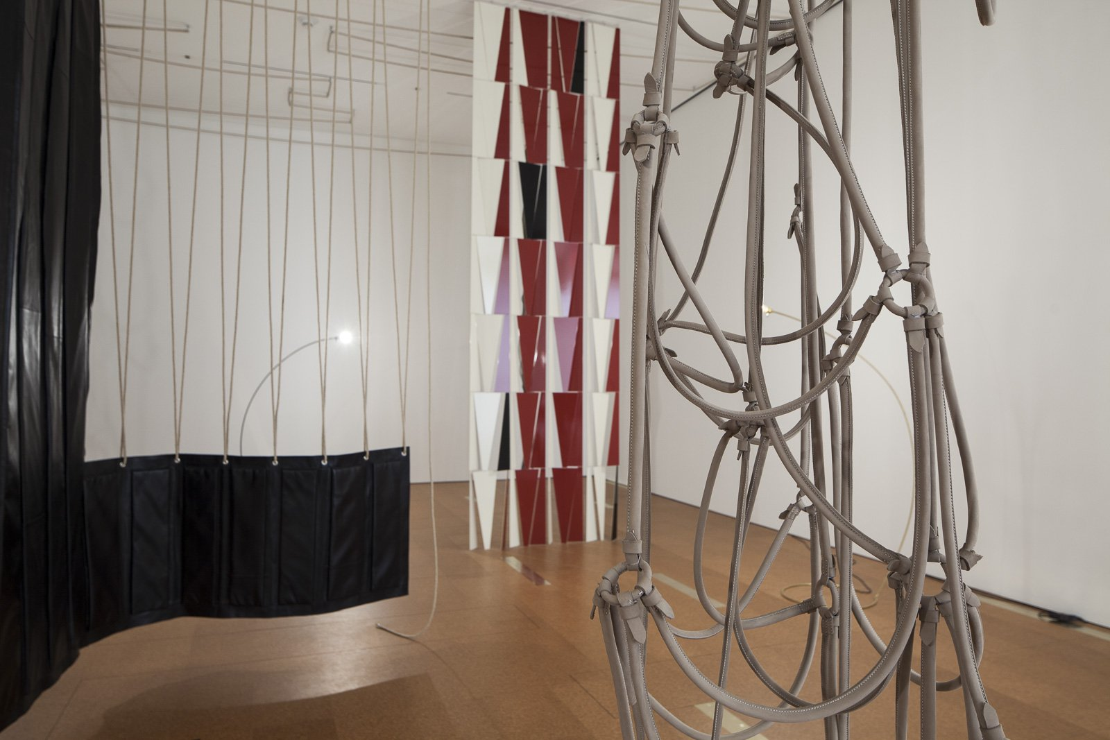 Installation view, Leonor Antunes, a spiral staircase leads down to the garden
