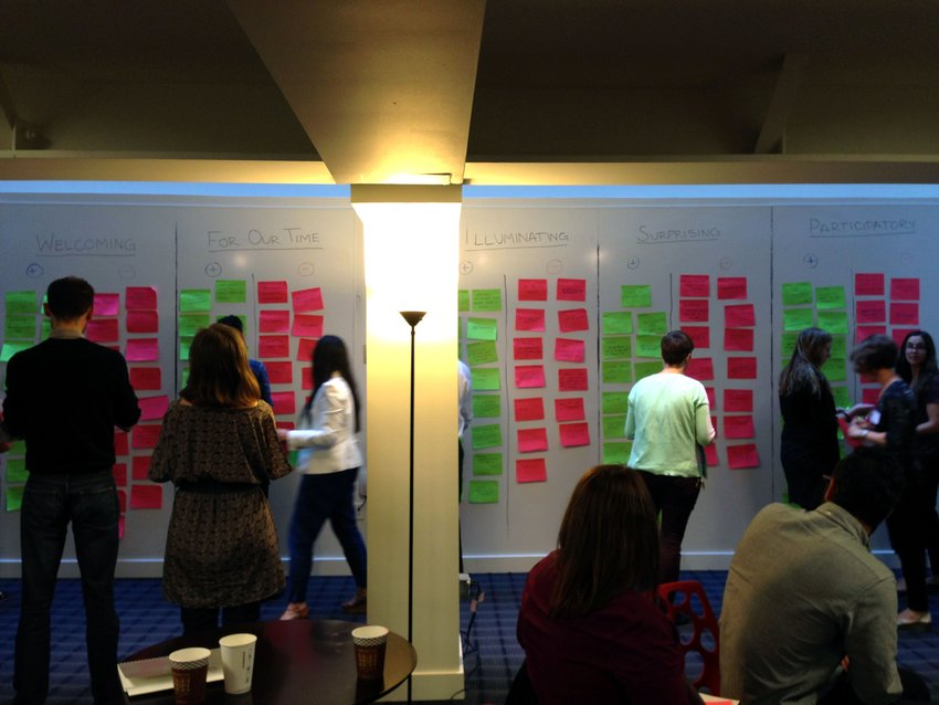 People read an add post-it notes to a brainstorming wall