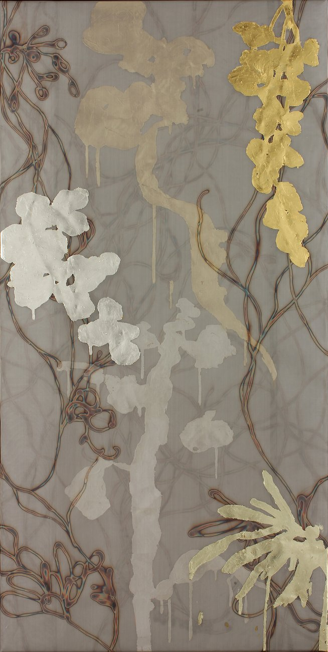 painting with dripping brown gold and beige flower imagery