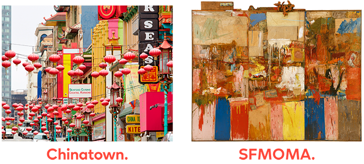 An image of San Francisco's Chinatown next to Robert Rauschenberg's Collection