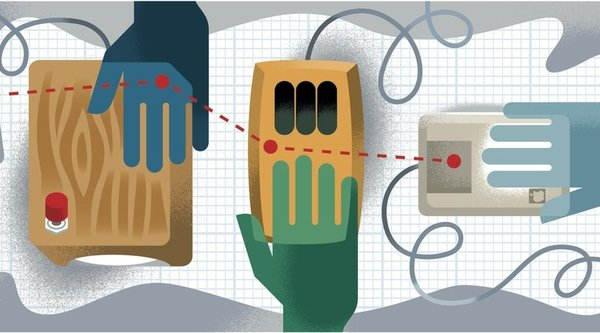 illustration of three hands and electronic circuits