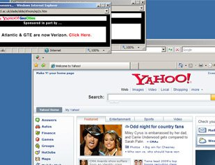 computer screen Yahoo internet browser