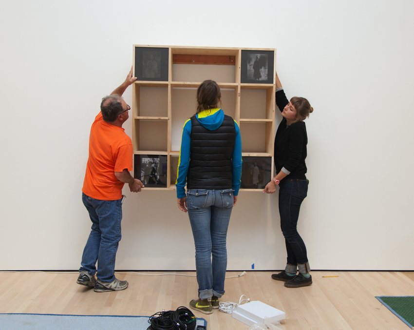 Installation of Nam June Paik work at the Collections Center
