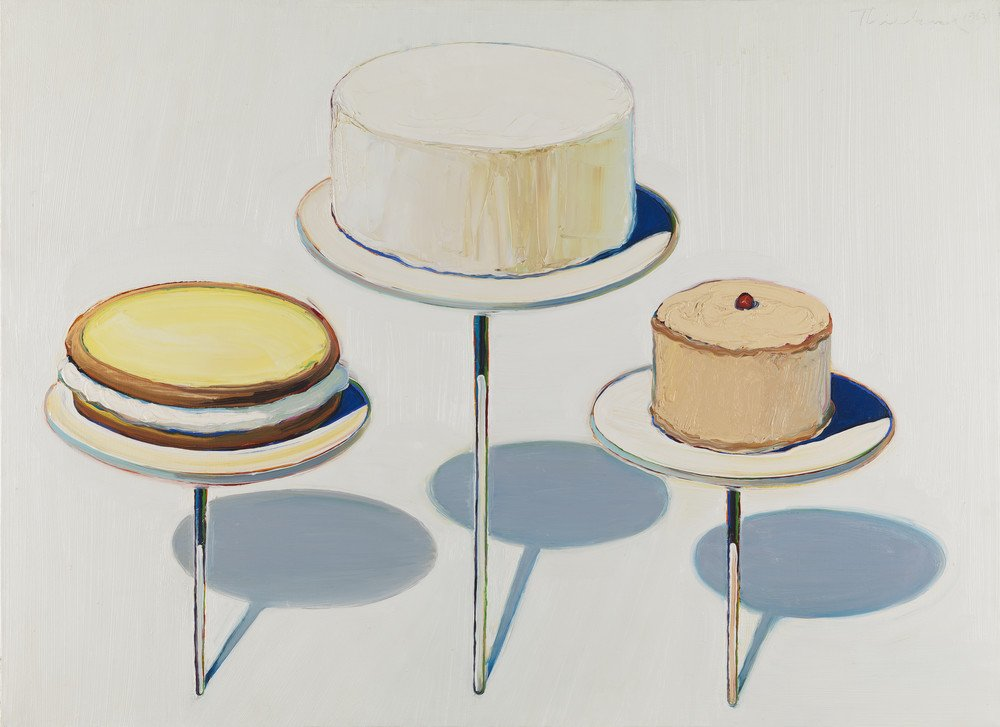 Oil painting of three round cakes on cake stands casting blue shadows against a white background