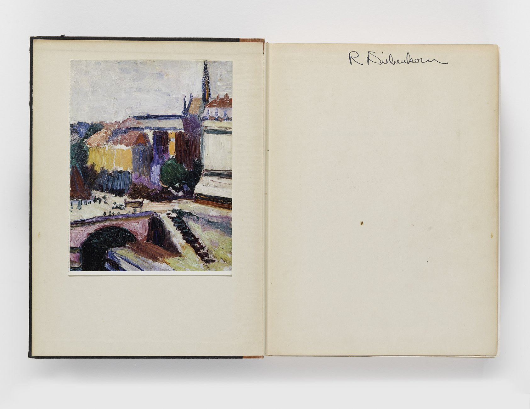 Alfred Barr, ​Matisse: His Art and His Public​, 1951 (inside cover with Richard Diebenkorn's signature)