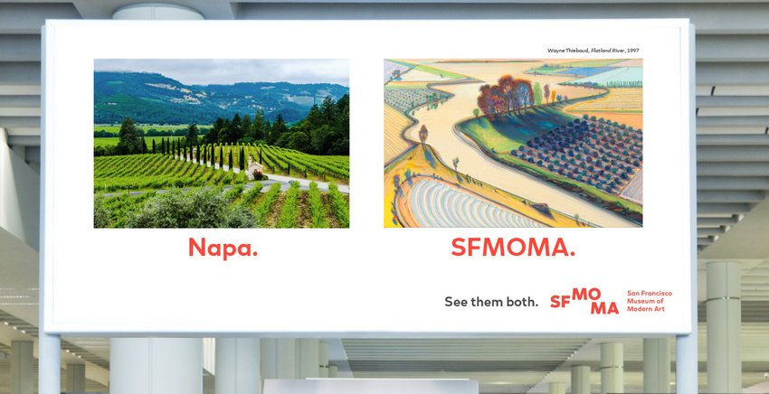 An advertisement with an image of Napa next to a Wayne Thiebaud painting