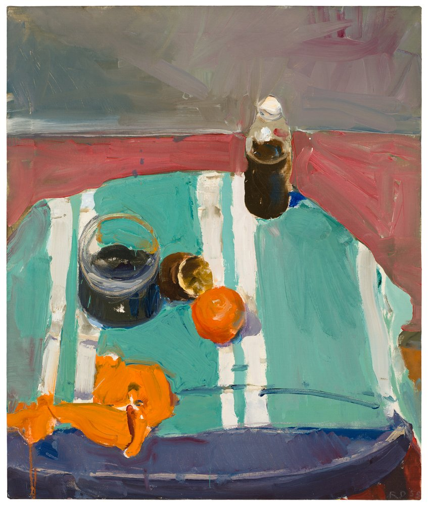 An abstracted painting depicting an orange peel on a blue background, Diebenkorn