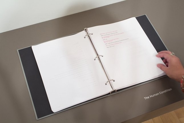 binder with paper on top of surface, The Agent Ruby Files installation view