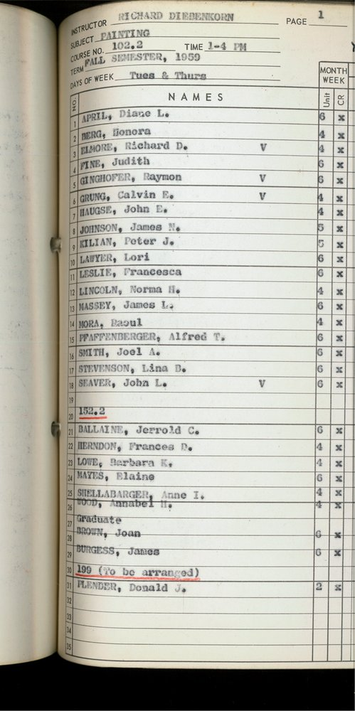 An archival class roster