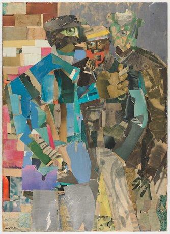 Romare Bearden, collaged painting of three men