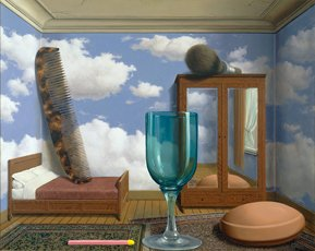 magritte bedroom with comb glass and cloud wallpaper