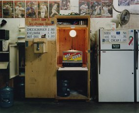 Sharon Lockhart, room with refrigerator, hot dog stand, and baseball posters