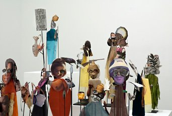 Geoffrey Farmer, wood and metal figure cut outs