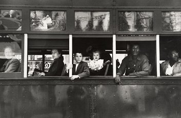 Robert Frank, photograph of people in trolley windows