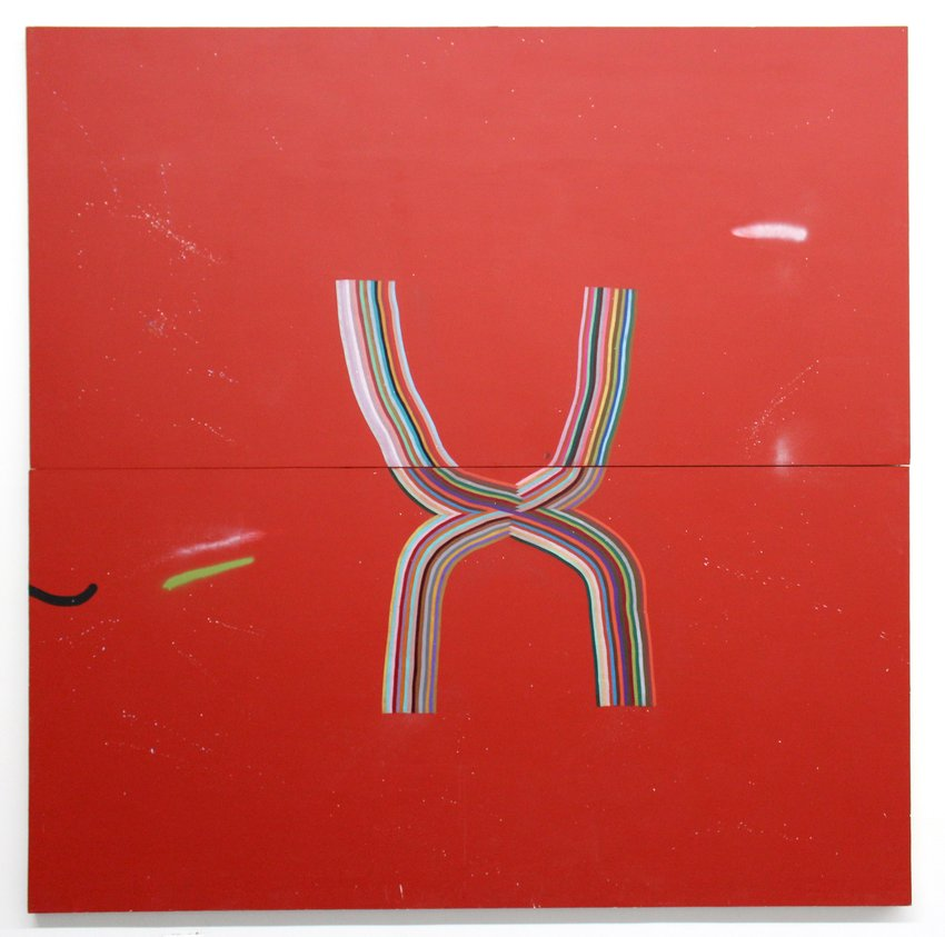 A rainbow striped X against two red, stacked horizontal canvases