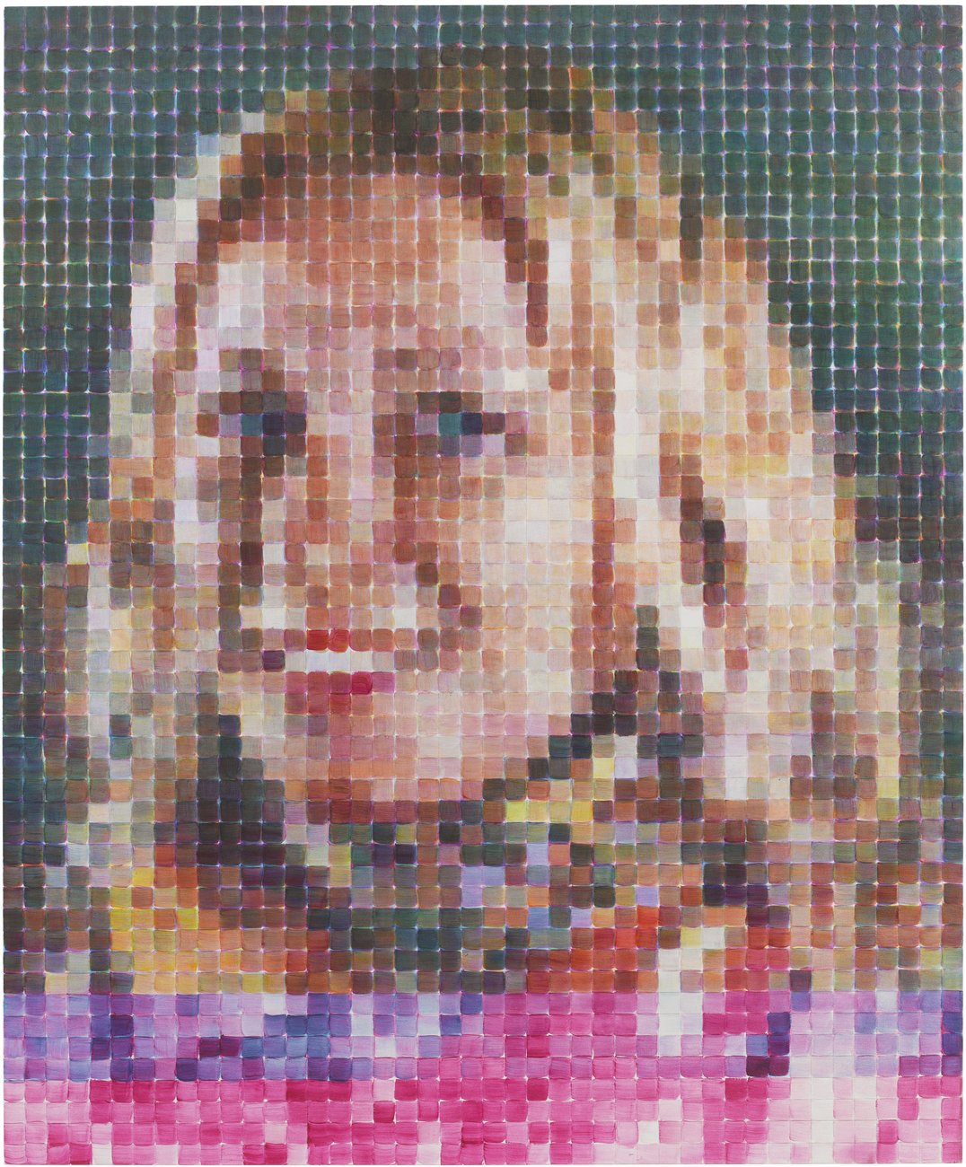 Portrait of a blonde woman composed of a grid of individually painted square cells with pink undertones