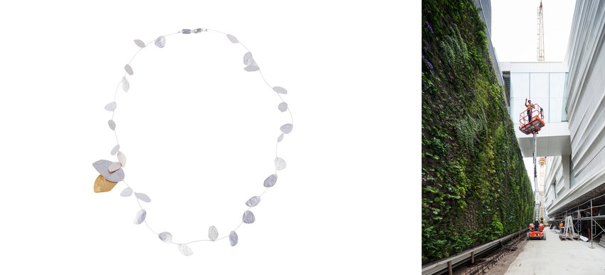 Image of a new necklace design alongside a view of the living wall at SFMOMA.