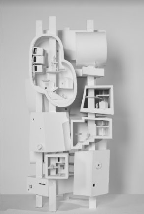 A white architectural sculpture