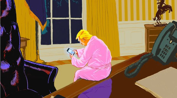 Painting of Donald Trump sitting in the oval office wearing apink bathrobe and looking at his phone