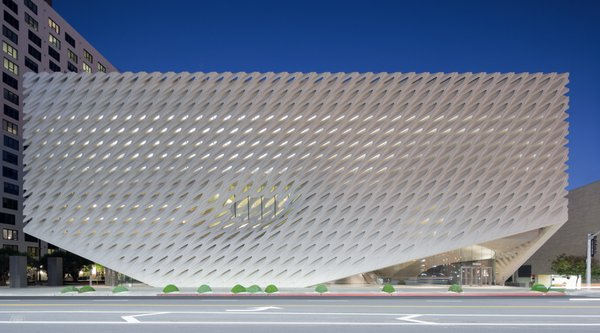 A latticed white architectural facade