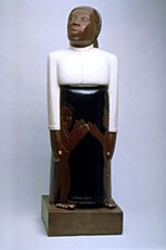 sargent johnson sculpture of african american woman in black and white dress